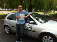 David passing his test with a one week residential driving course.
